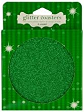 Green Glitter Coasters Set of 4 Christmas Holiday New Year39s Eve Party Bar Supplies