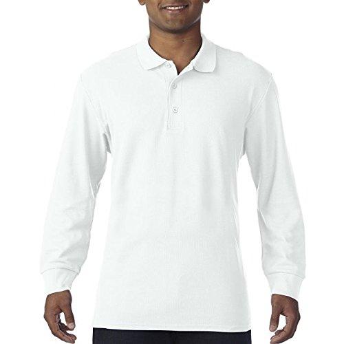 Polo Maniche Lunghe Uomo Cotone Piquet Gildan Premium Cotton Maglia Con Colletto CHEMAGLIETTE! , Colore: Bianco, Taglia: XL