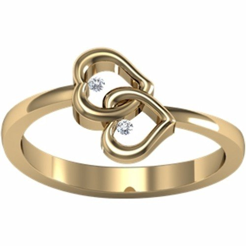 10K Yellow Gold Diamond Heart Promise Ring - 0.03 Ct. - Size 5