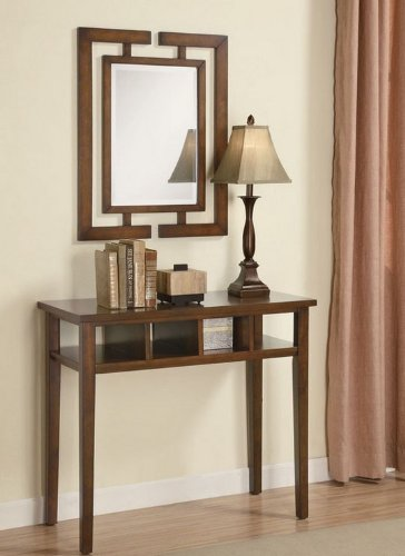 Cheap 3pc Entry Way Console Table, Mirror and lamp Set in Medium Brown Finish (VF_900156)