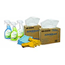 Hospeco Starter Kit, General Cleaning.  Includes 1 box of All Purpose Wipers, 1 Box of Glass and Surface wipers, 4 Microfiber Towels, Ready to Use Degreaser, Glass Cleaner, and Organic Acid Restroom Cleaner Plus 4 Pair of Flock Lined Gloves.