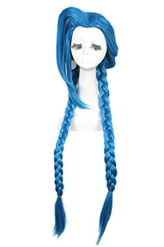 100cm Blue Braid League of Legends LOL Loose Cannon Cosplay Costumes Full Wigs Zy66