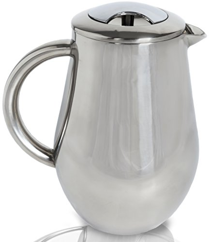 SterlingPro pear shape 8 Cup/4 Mug (1 liter, 35 oz) Doublewall Stainless Steel Mirror Finish French Coffee Press-#1 With 2 BONUS Screen FREE(over $25 value)-Durable Coffee, Espresso & Tea Maker with Stainless Steel Plunger -Keep Your Great Coffee Hot-Never Break--Great as Wedding, House Warming, Retirement & Birthday Gifts for Coffee Lovers-Limited Quantity!!