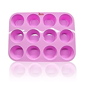 Zenoz PREMIUM Pink 100% Food Grade Silicone Baking Cookware Tray 12cup Muffin/Cupcake Pan - Bakeware Tin Is Non-stick Flexible Heat Resistant -40°F to 450°F BPA-Free- Cleans Easily Safe In Oven, Microwave, Dishwasher & Freezer - Nontoxic, Odourless And