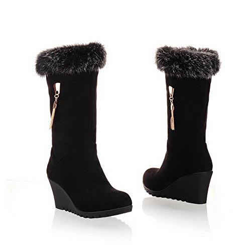 VogueZone009 Womens Closed Toe Round Toe Kitten Heels PU Frosted Solid Boot with Metal Chain