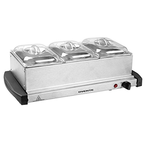 Ovente Deluxe Mini 3 Tray Buffet Server and Food Warmer with Stand Alone Warmer Tray (FW153S)