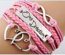 Pulsera One Direction (cordón rosa, símbolo infinito y corazones entrelazados plateados)
