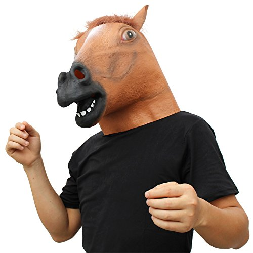 CreepyParty Deluxe Novelty Halloween Costume Party Latex Animal Head Mask Horse head (Horses Head Mask compare prices)