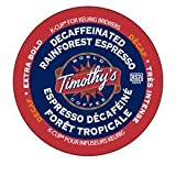 48 Count- Timothys World Coffee Rainforest Espresso Decaf Extra Bold Coffee K Cups For Keurig brewers