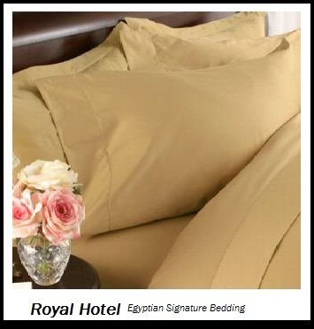 Royal Hotel's Solid Gold 1200-Thread-Count 4pc King Bed Sheet Set 100-Percent Egyptian Cotton, Sateen Solid, Deep Pocket, 1200 TC
