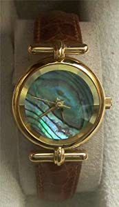 Fossil Abalone Watch with Prism Crystal Vintage Womens PC-7325