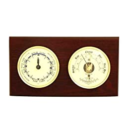 German Precision Tide Clock and Barometer and Thermometer on a Wood Base