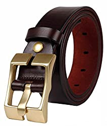 Blueblue Sky Genuine Leather Belts Men's Square Pin Buckle Belts#tr2000 (47 in, Dark Coffee)