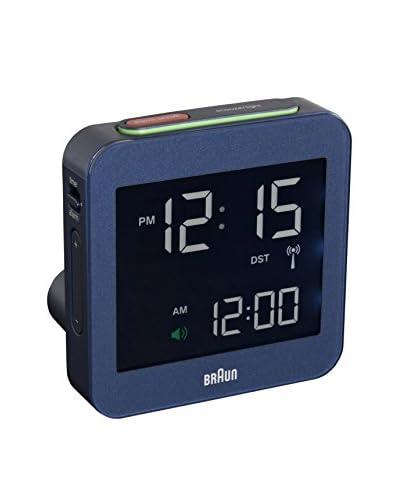 Braun Global Radio Controlled Angled Travel Alarm Clock, Blue