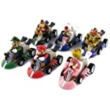 SUPER MARIO LUGHI BROS KART PULL BACK CAR FIGURES 6 PIECES KIDS TOYS BEST GIFT