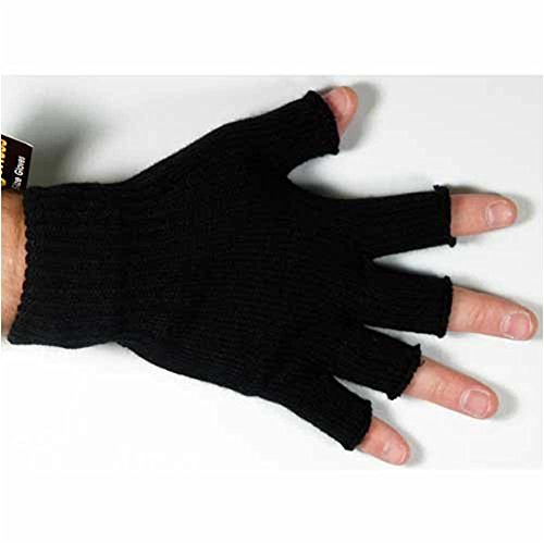 Mens Thinsulate 3M Thermal Fingerless Gloves Black L/XL GL131