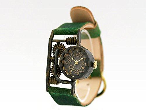 スチームパンク風デザインの腕時計「Geatronics IV 縦」 時計作家KS(篠原康治) 手作り時計のJHA(グリーン)