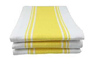 "Kitchen Tea Towels By Cucinare 100% Cotton , Professional Grade Finely Woven, Large, Absorbent with Vintage Striped Tea Towel, Set of 3 or 6 (Size 20""x 28"")"