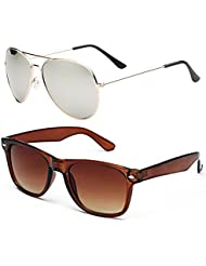 SHEOMY COMBO OF STYLISH GOLDEN SILVER MERCURY AVIATOR AND BROWN WAYFARER SUNGLASSES WITH 2 BOX - Free Delivery