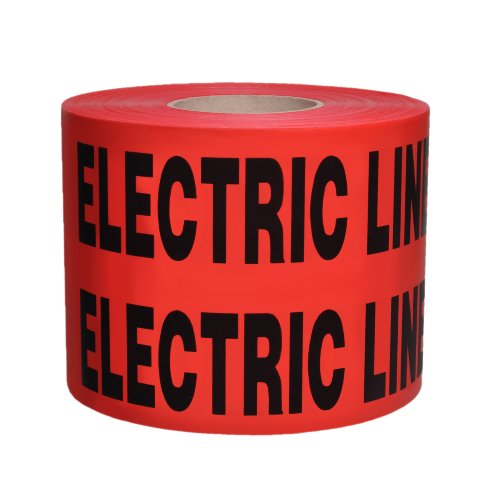 """Presco B6104R6-658 1000' Length X 6"""" Width X 4 Mil Thick, Polyethylene, Red With Black Ink Non-Detectable Underground Warning Tape, Legend """"Caution Buried Electric Line Below"""" (Pack Of 4)"""
