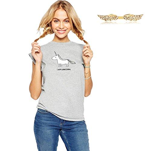 BYD da Donna T-shirt a Maniche Corte Maglietta Maglia Unicorno e Lettere Stampate Hem Bluse e Camicie Camicia Camicetta Tops