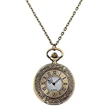 buy Mifine Antique Roman Pocket Watch Bronze Dial Open Faced Roman Numerals With Vintage Metal Rope