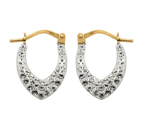 9ct Yellow Gold and Crystalique Diamond Shaped Creole Earrings