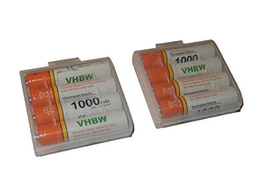 vhbw 8 x AAA, Micro, R3, HR03 Akku 1000mAh für Siemens Gigaset C47h, C59h, S100, S150, S44, S440, S445, S67h, S790, SX455, SX790, SX810a