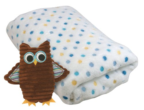 Stephan Baby Cordy Owl Corduroy Rattle and Multi-Dot Fleece Blanket Gift Set, Blue/Brown