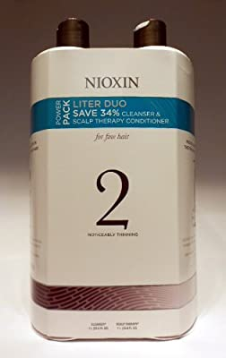 Nioxin System 2 Cleanser & Scalp Therapy Duo (Natural Hair: Noticeably Thinning) 33.8 oz (1 Liter)