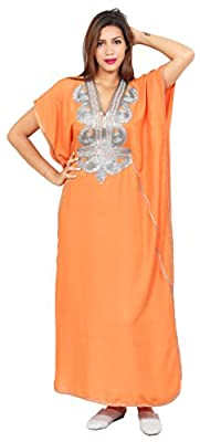 Moroccan Caftan Handmade Cotton Silver Hand Embroidery Breathable Soft Maria Orange