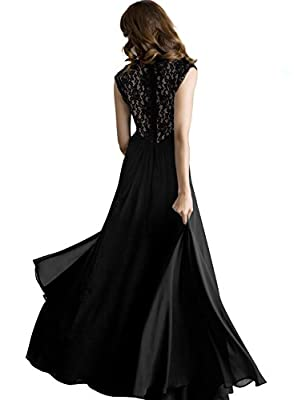 Miusol® Women's Casual Deep- V Neck Sleeveless Vintage Maxi Black Dress