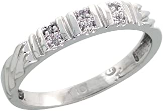 10k White Gold Ladies Diamond Wedding Band Ring 003 cttw Brilliant Cut 18 inch 35mm wide