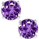 1.50 Ct Purple Amethyst Sterling Silver 6.00MM Earrings