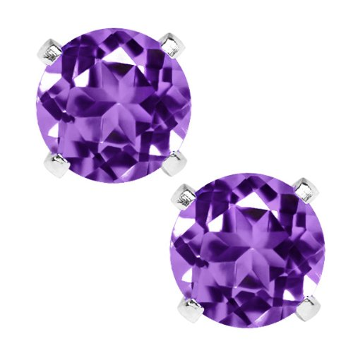 1.50 Ct Purple Amethyst Sterling Silver 6.00MM Earrings
