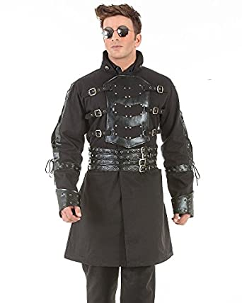 Steampunk Men's Coats Van Helsing Steampunk Victorian Gothic Mens Costume Trench Coat  AT vintagedancer.com