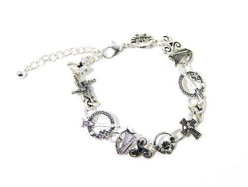 Thirteen Irish Symbols Charm Bracelet Celtic Jewelry