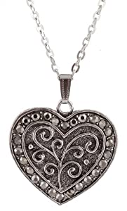 "Ladies Silver with Gun Metal Stoned Outline Heart Style Pendant with a 21.5"" Link Chain Adjustable Necklace"
