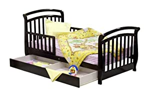 Dream On Me Deluxe Sleigh Toddler Bed with Storage Drawer - Espresso