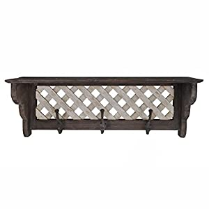 Solid Wood Distressed Wall Shelf With Hooks