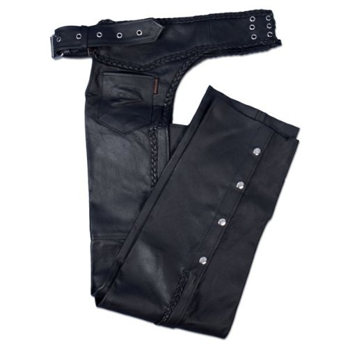 Hot Leathers Heavyweight Leather Chaps (Black, XXXX-Large)