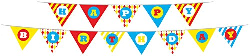 Party Partners Design Retro Big Top Circus Themed Happy Birthday Banner Set, Blue/Red