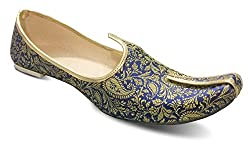 Unique Mens Blue Golden designer Sherwani Juti (UK 11)