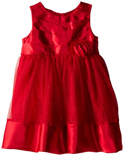 Youngland Little Girls' Pleated Top Occasion Dress, Red, 4T