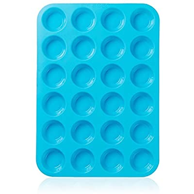 Joyoldelf Large Mini Muffin Pans - 24 Cup Jumbo Silicone Pan for Cupcakes and Premium Baking - Non Stick Tray / Bakeware - Silicon Mold, Heat Resistant up to 450°F - Blue