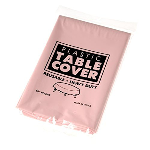 "One Pink Plastic Round Heavy Duty Tablecloth - 84"" - 1"