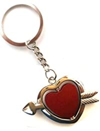 MM Heartin With Love Metal Double Side Keychain For Cars And Bikes