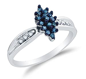 Size 5 - 10K White Gold Blue & White Round Diamond Engagement Ring - Channel Set Marquise Center Setting Shape (.18 cttw.)