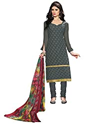 Ethnic For You Georgette Unstitched Salwar Suit Dress Materials(Grey)