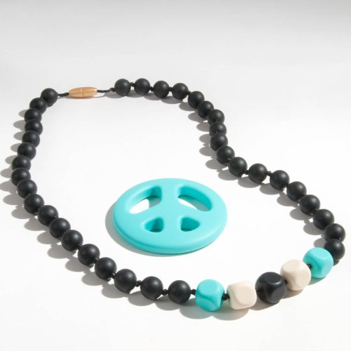 Sassy Baby Beads Chew Teething Beads Necklace And Teether Set -Desert Sky